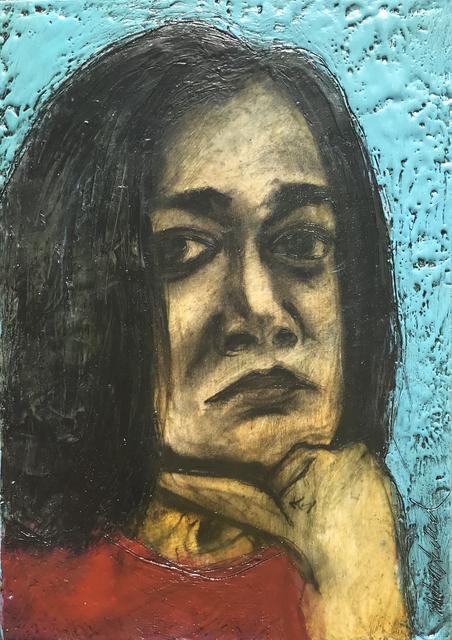 Marcie Wolf-Hubbard, 'Congresswoman Pramilia Jayapal', 2021, Painting, Encaustic and charcoal on panel, Zenith Gallery