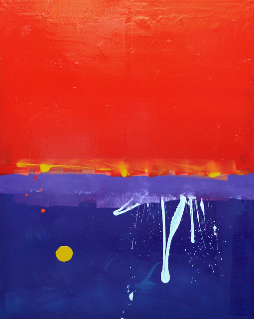 Anthony Hunter, 'Red, Red, Red Sky With White Squiggle and Yellow Blob Painting', JoAnne Artman Gallery