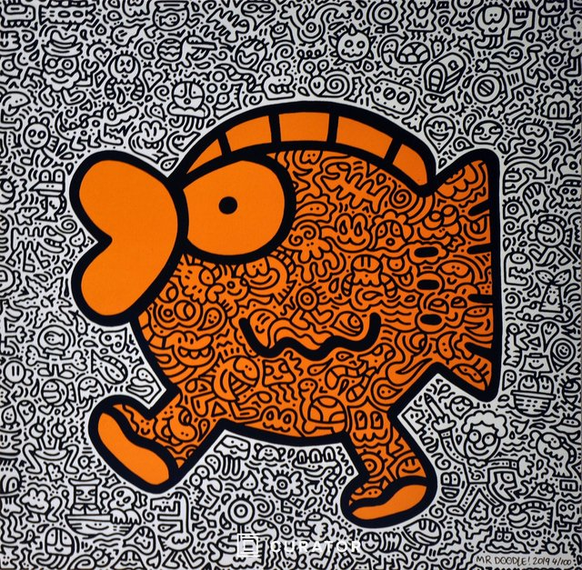 Mr. Doodle, 'Orange Fish', 2019, Print, Screenprint on Fabriano 5 Paper, Curator Style