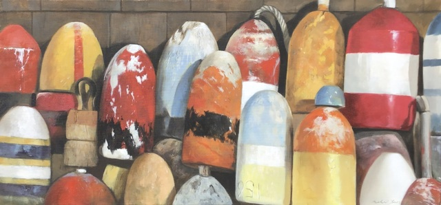 "Michel Brosseau, '""Autumn Buoys"" oil painting of red, orange and yellow buoys', 2019, Eisenhauer Gallery"