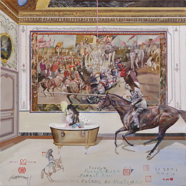, 'Shunga-Bunga, French Kiss, Louis XIV and Madame de Montespan,' 2014, Galerie Huit