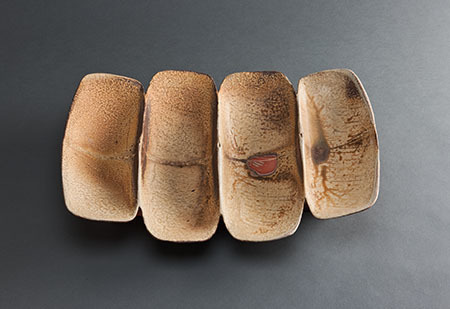 , 'Quadruple spoon form dish, wood-fired natural ash glaze with kaolin slip,' , Pucker Gallery