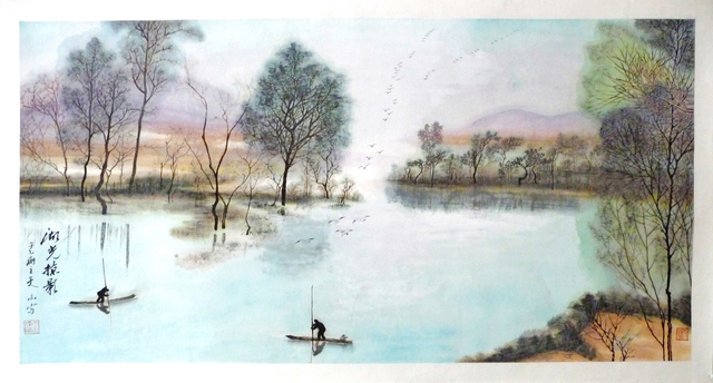Zhang Yanyun, 'Glimpse of the lake 湖光掠影 ', 2010, Drawing, Collage or other Work on Paper, Ink and colour on paper, Tian Bai Calligraphy and Painting (天白書畫)
