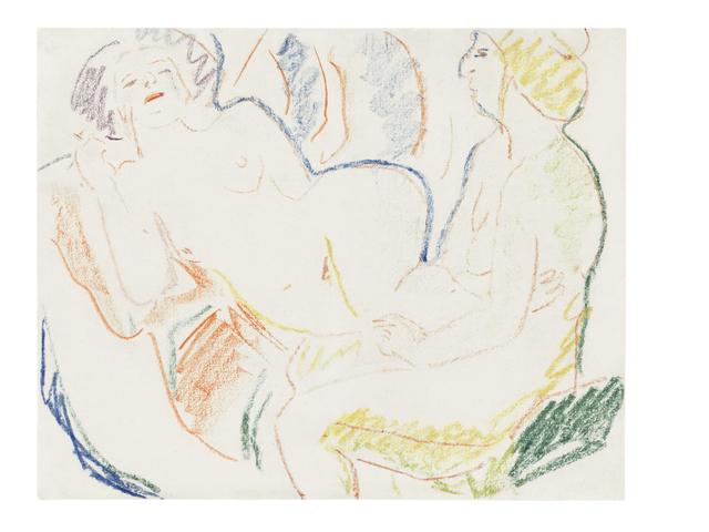 , 'Liegender und sitzender weiblicher Akt (Zwei Akte),' ca. 1906, Ludorff