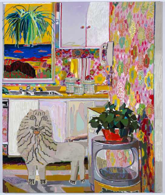 Leon Benn, 'Lion in the Kitchen', 2019, Painting, Oil, oil pastel and fabric dyes on Moroccan linen, David B. Smith Gallery