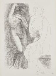 Femme nue devant une statue (Naked Woman in Front of a Statue), plate 6 from La Suite Vollard