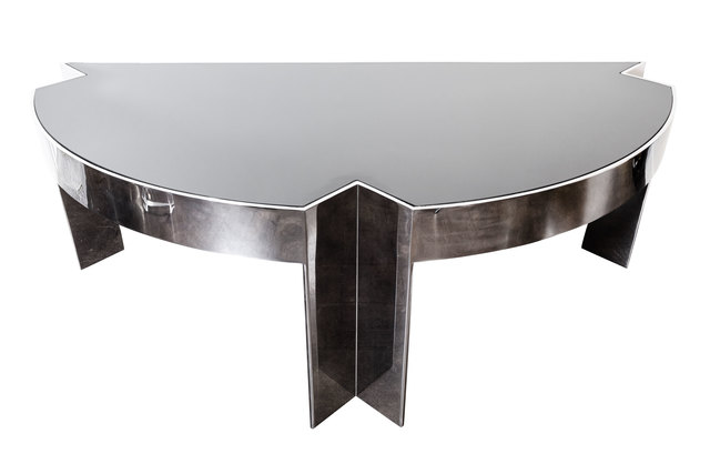", 'Polished Steel ""Mezzaluna"" Desk by Leon Rosen for Pace, 1970s,' ca. 1970, On Madison"
