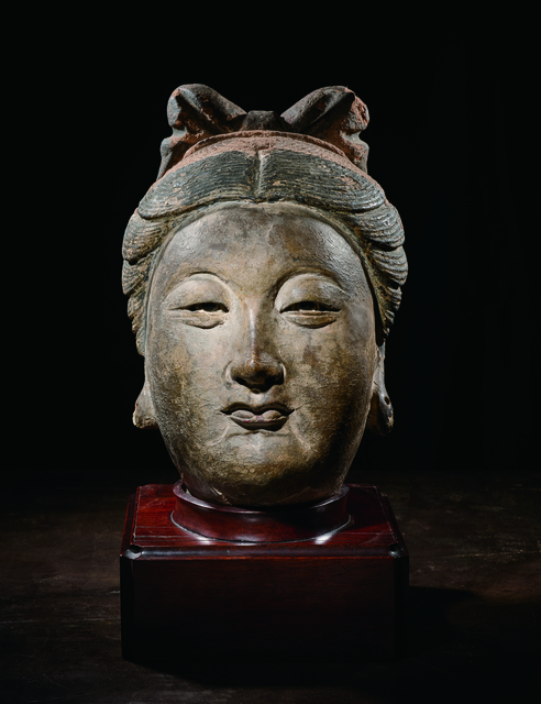 , 'A Large Painted Stucco Head of a Bodhisattva 元14世紀 灰泥彩繪菩薩首像,' China: Yuan Dynasty, 14th century, stand, Rasti Chinese Art