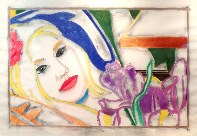 , 'Reverse Drawing: Bedroom Blonde with Irises,' 1993, McClain Gallery
