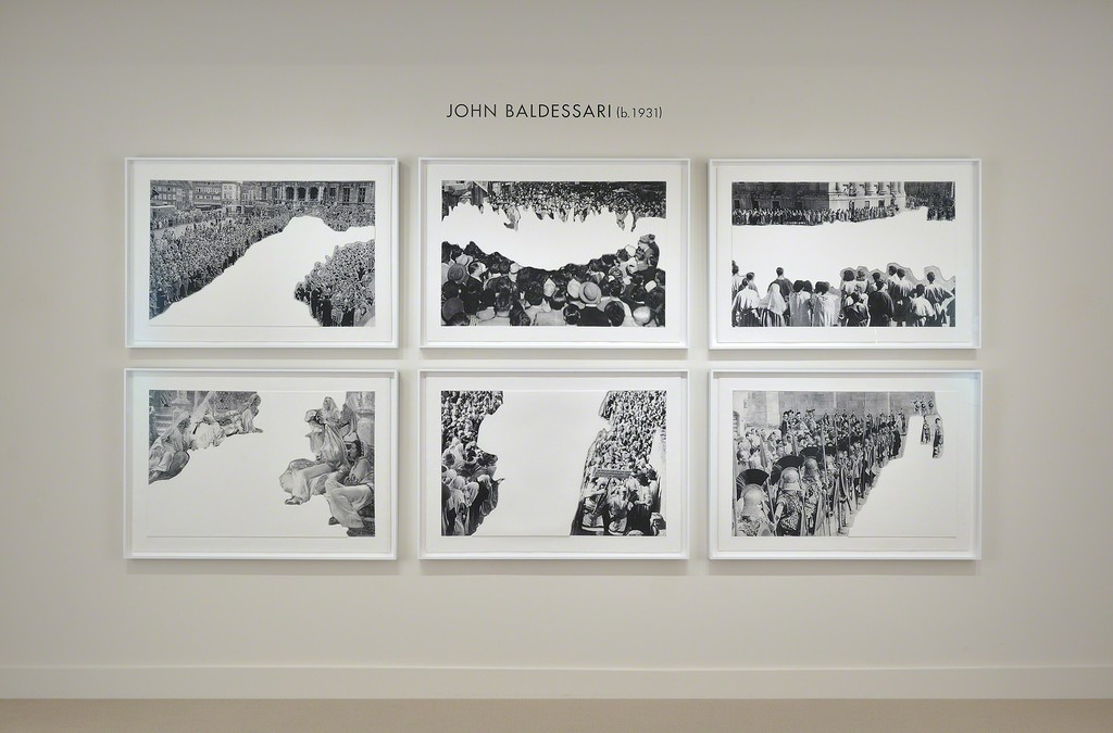 "John Baldessari ""Crowds with Shape of Reason Missing"" installation at Meyerovich Gallery, SF"