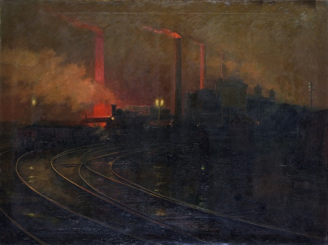 , 'Steelworks, Cardiff, at Night,' 1895-1897, Princeton University Art Museum
