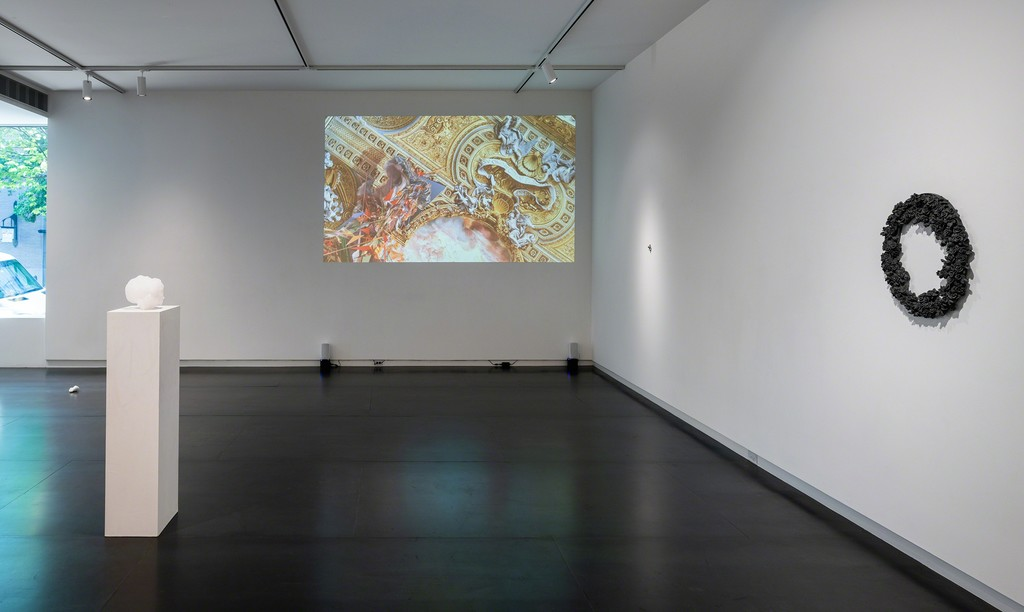 Plane of Scattered Pasts at Upfor, featuring video by Quayola and sculpture by Heidi Schwegler. Photo by Mario Gallucci. Quayola's work is included courtesy bitforms gallery.