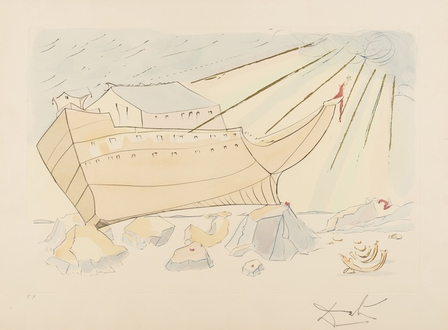 Salvador Dalí, 'Noah's Ark (from Our Historical Heritage) (M & L 762; Field 75-4-F)', 1975, Print, Etching with pochoir printed in colours, Forum Auctions