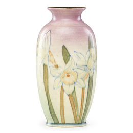 Double Vellum vase with daffodils (uncrazed), Cincinnati, OH