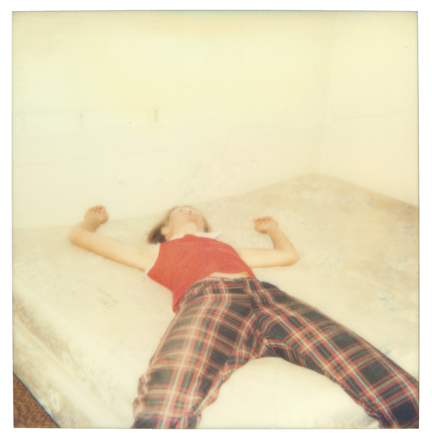 Stefanie Schneider, 'Stefanie on bed looking quite dead (29 Palms, CA) ', 1998, Photography, Analog C-Print, hand-printed by the artist on Fuji Crystal Archive Paper, based on a Polaroid, mounted on Aluminum with matte UV-Protection, Instantdreams