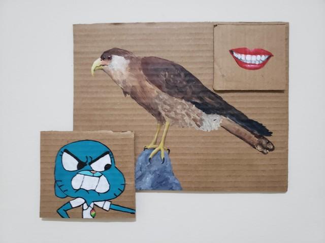 Julia Debasse, 'Sorria para o falcão, Nicole ', 2020, Painting, Acrylic on cardboard, Portas Vilaseca Galeria