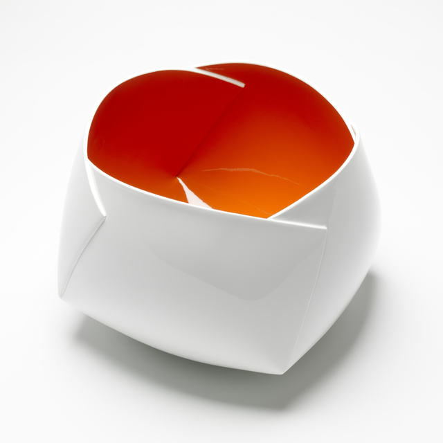 ", '""White and Orange Origami Vessel"" ,' 2015, J. Lohmann Gallery"