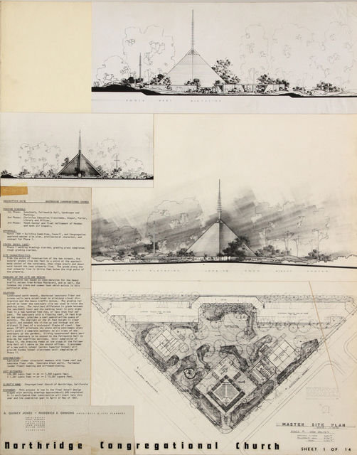 , 'Presentation panels for Northridge Congregational Church, Northridge, CA with vintage original photographs and reproductions of rendering and masterplan,' 1960, Edward Cella Art and Architecture