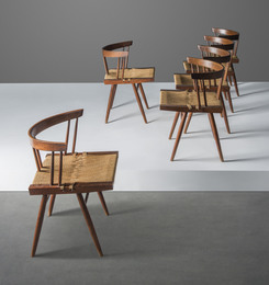 A set of six grass-seated dining chairs