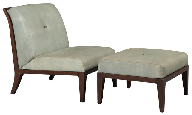 'Baker Pebble Leather and Walnut Chair and Ottoman', Doyle
