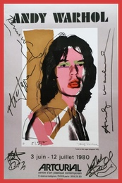 Mick Jagger (Hand Signed by Andy Warhol, Mick Jagger and all of the Rolling Stones)
