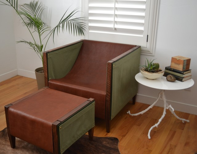 , 'Camp Club Chair & Ottoman, Claro Walnut, Sunbrella Heritage Leaf, Walnut,' , blankblank