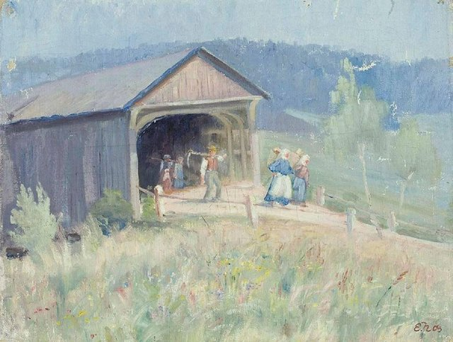 Unknown, 'Family of Farmers by the Barn', 20th Century, Lions Gallery