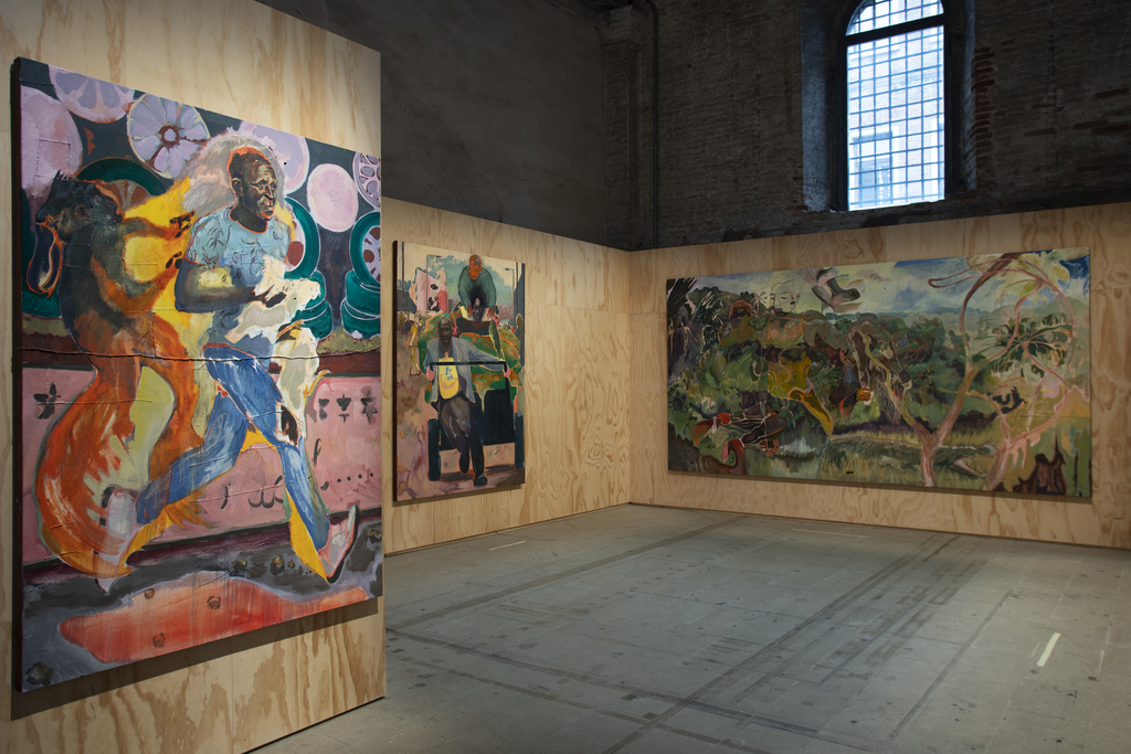 Installation view of Michael Armitage, various works, 2019, at the 58th International Art Exhibition - La Biennale di Venezia, May You Live In Interesting Times. Photo by Andrea Avezzù. Courtesy of La Biennale di Venezia.