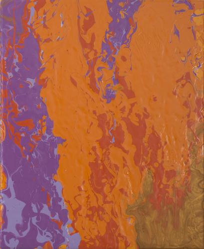 , 'orangevioletgoldred pour,' 2015, Heather Gaudio Fine Art