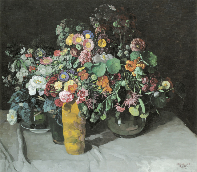 , 'Floral Still Life with Asters, Carnations, and Nasturtiums,' 1914, Galerie Kovacek