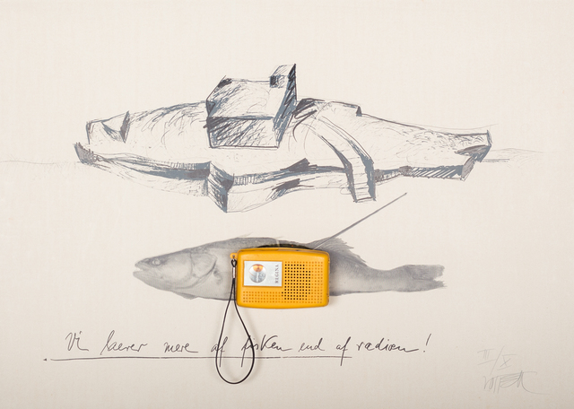 Wolf Vostell, 'Fisch-Radio', 1978, Drawing, Collage or other Work on Paper, Serigraph on Fabriano 5 Cotton as object graphic with two circular punchings for mounting a small transistor radio. Text in image: Vi laerer mere af fisken end af radioen (We learn more from fish than from radios), Galerie aKonzept