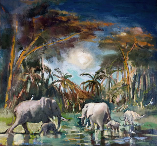 , 'Elephants and Yellow Fever Trees ,' 2019, The Majlis Gallery