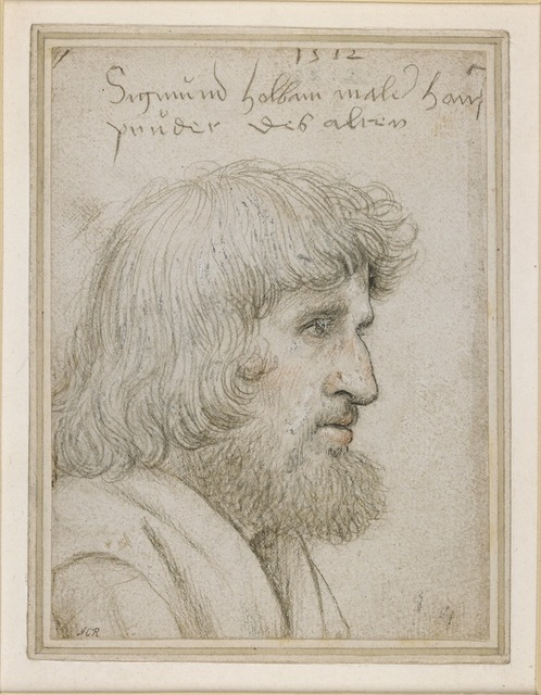 Hans Holbein the Elder, 'Portrait of the artist's brother Sigmund', 1512, Print, Silverpoint, with black and red chalk, heightened with white bodycolour; on white prepared paper, British Museum