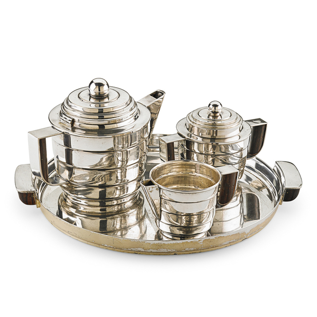Kem Weber, 'Rare Silver Style Four-Piece Tea Set, USA', 1928, Rago/Wright