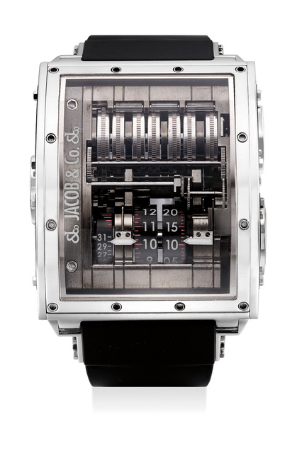 Jacob & Co., 'An exceptional and rare limited edition white gold and carbon fiber vertical tourbillon wristwatch with 31-Day power reserve indicator, numbered 00 of a limited edition series of 99 pieces', Circa 2008, Phillips