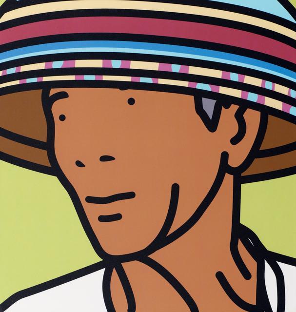 Julian Opie, 'Komang, beach vendor', 2002, Photography, C-print on plastic-sealed paper, laid down on wood, Van Ham