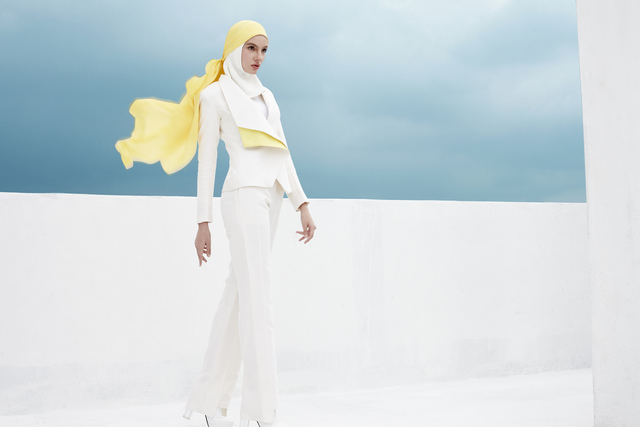 ", '""Freedom on the Horizon"" ensemble (jacket, inner shirt, pants, hijab, and headscarf),' Spring/Summer 2017, de Young Museum"