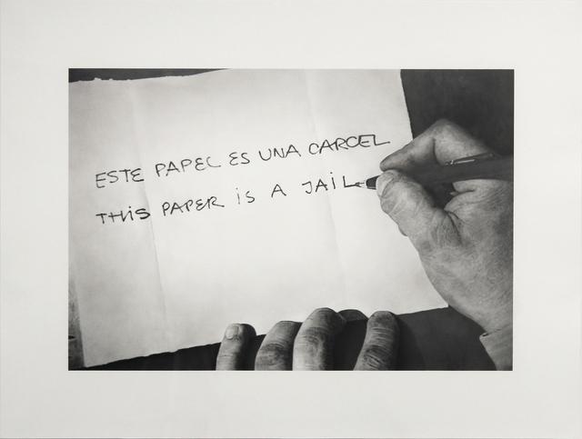 """, 'Formalizing their concept: Horacio Zabala's """"Este papel es una carcel"""" 1972,' 2013, Josée Bienvenu"""