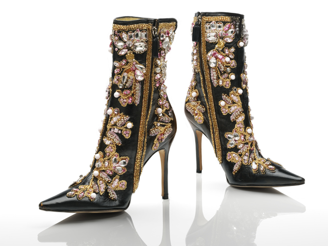 , 'Ankle boots, black leather stiletto heels with gold, white and pink embroidery,' 2000, Victoria and Albert Museum (V&A)