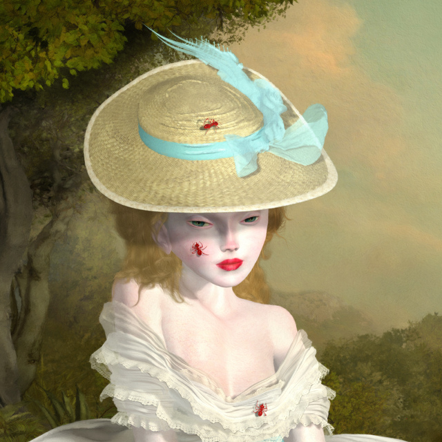 Ray Caesar, 'Bejewelled Study', 2014, Painting, One of a Kind Digital Ultrachrome Print and Acrylic Paint Single Varnished on Board, Dorothy Circus Gallery