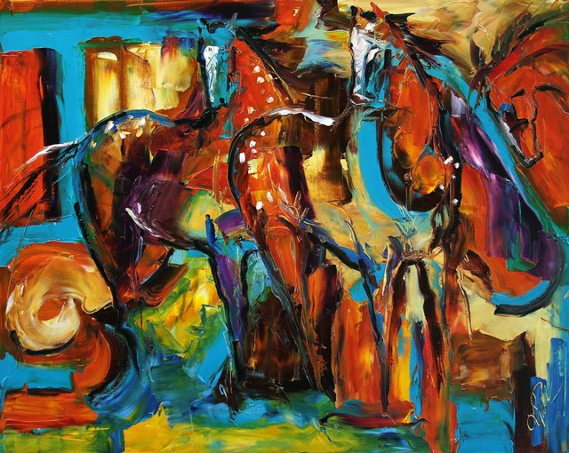 Laurie Pace, 'Original Horse Painting 'Appaloosa in the Wind' Colorful Equine Art, Modern Western Art', 2017, Painting, Oil on Canvas, Fringe Gallery