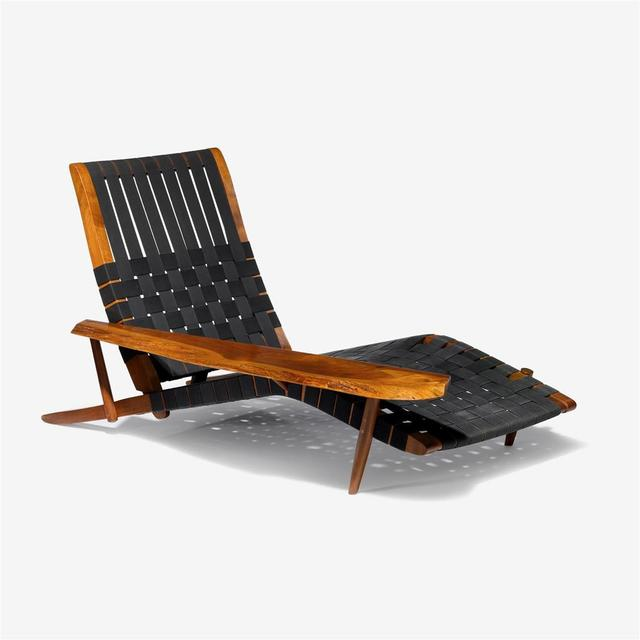 , 'Lounge chair in walnut, with one free-form armrest and adjustable back, the seat and back are webbed,' 1979, 1950