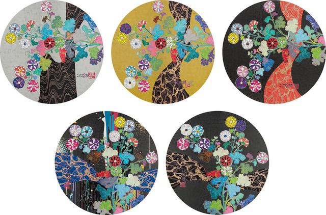 Takashi Murakami, 'A Red River is Visible; Kansei: The Golden Age; Hokkyo Takashi - Kansei; Kansei: Wildflowers Glowing in the Night; and Korin: Stellar River in the Heavens', 2014 and 2015, Phillips