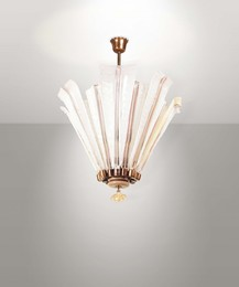 a mod. 5235 lamp from the Bollicine series with a brass structure and milk glass and pulegoso glass elements