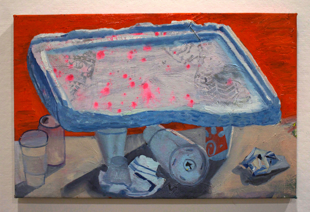, 'Styrofoam Lid with Miscellaneous Objects,' 2018, Mindy Solomon Gallery