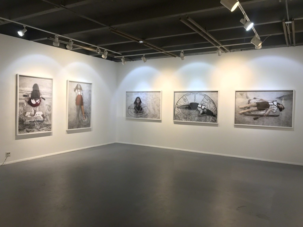 installation view of Apocalyptic Cartographies series
