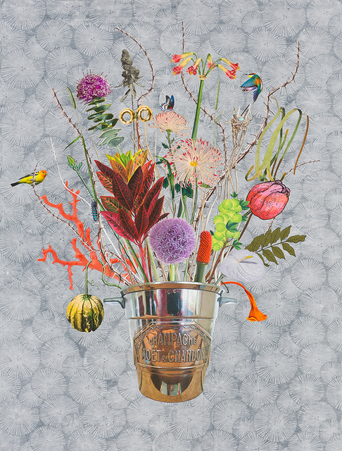 , 'Champagne Bucket with Silkmoth, Chanterelle and Gooseberries,' 2016, Lyndsey Ingram