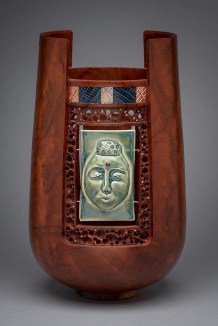 Al Sils, 'Windows', Design/Decorative Art, Redwood burl, ceramic tile, snakeskin, copper,  silver, brass, glass bead, Beatrice Wood Center for the Arts