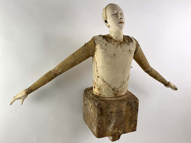 Cathy Rose, 'Release', 2021, Sculpture, Hand formed clay assembled with altered wood, leather, metal, fabric, paint and found objects, Sue Greenwood Fine Art