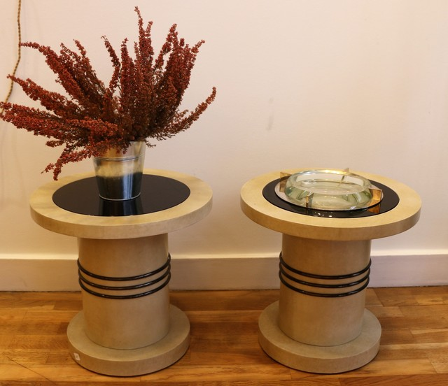 , 'Pair of side tables shaped like spools,' ca. 1930, Avant-Garde Gallery